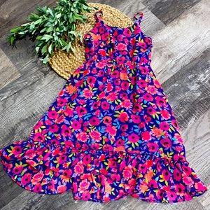 Children's Place floral purple dress size 7/8 EUC